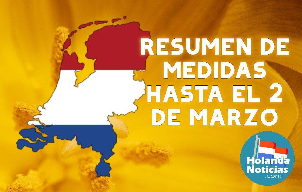 Resumen de medidas hasta el 2 de marzo inclusive, como mínimo en los Países Bajos.