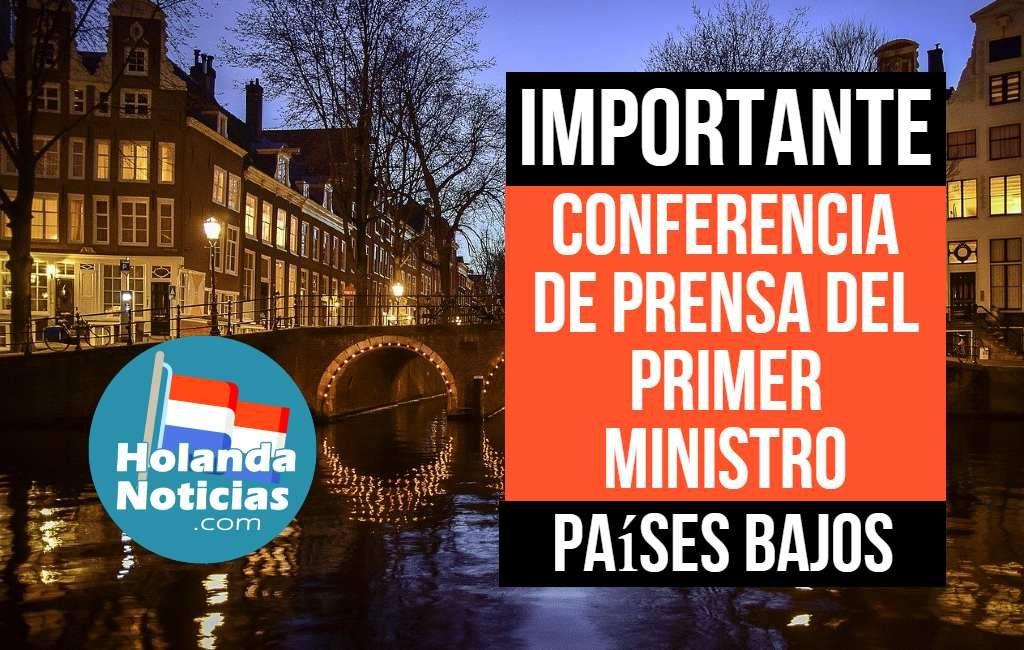 Conferencia de prensa del primer ministro neerlandés en español.